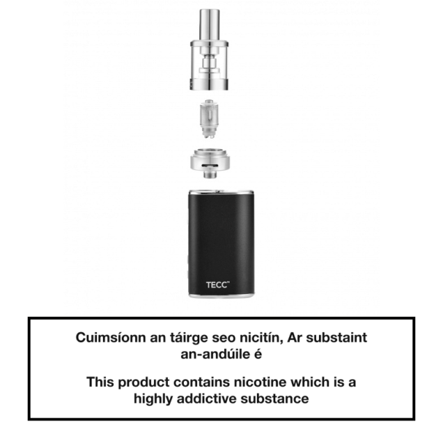 TECC arc Mini 20W E-cig Kit - Exploded View